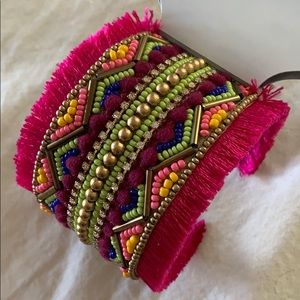 anthropologie pink tribal cuff bracelet
